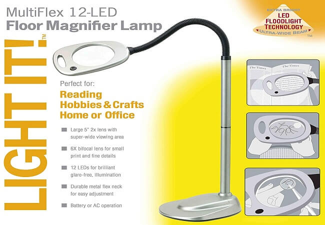 Light It! By Fulcrum, 12 LED Wireless Magnifying Floor Lamp with Adaptor